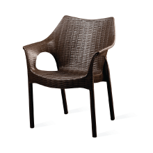 Plastic Rattan Chair Brown Color