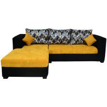 Winter Sectional Sofa - Black And Yellowish Gold Base And Yellow, Balck And Grey Deshined Back Cushions