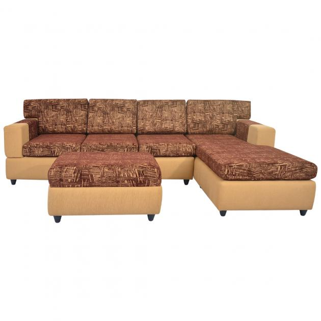 Awana Sectional sofa - Light Brown Base And Dark Brown Cushions