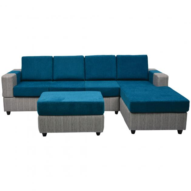 Awana Sectional sofa - Grey Base And Blue Cushions