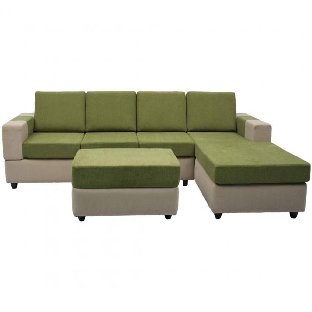 Awana Sectional sofa - Beige Base And Green Cushions