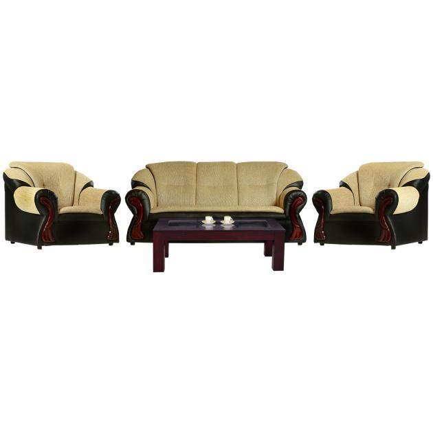 Raid Sofa - Black PVC And Beige Fabric