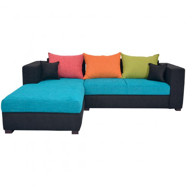 Winter Sectional Sofa - Black And Blue Base And Green, Orange And Pink Back Cushions