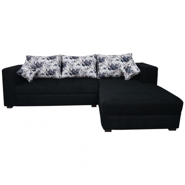 Winter Sectional Sofa - Black Base And White And Dark Grey Floral Cushions