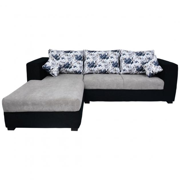 Winter Sectional Sofa - Black And Grey Base And White And Dark Grey Floral Back Cushions