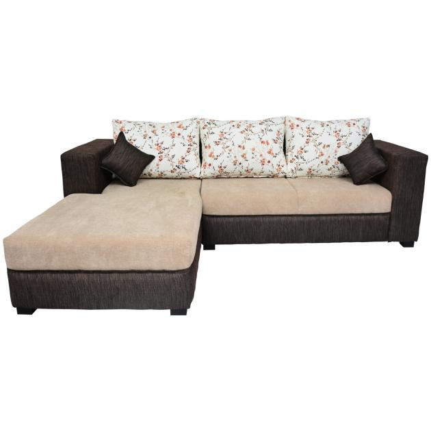 Winter Sectional Sofa - Dark And Light Grey Base And White And Pink Floral Back Cushions