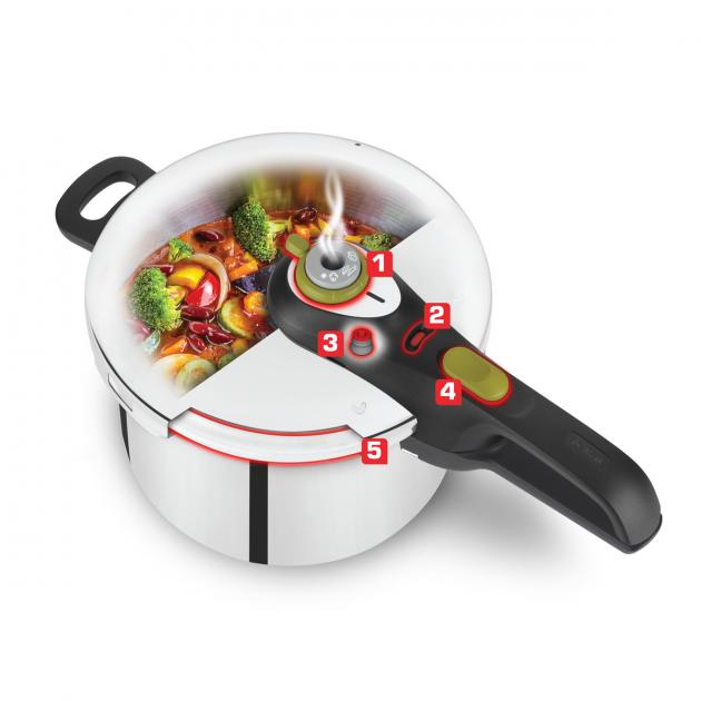 Tefal Pressure Cooker Stainless Steel 4L, Secure 5 Neo
