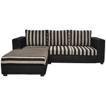 Winter Sectional Sofa - Black Base And Black And Light Brown Striped Cushions